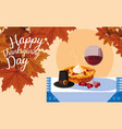 pilgrim hat with pie and cup wine in table vector image vector image