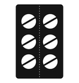 Pills in blister pack icon black simple style vector image vector image