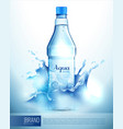 plastic bottle in splashes poster vector image vector image