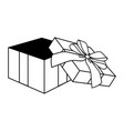 pop art gift box cartoon in black and white vector image