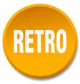 retro orange round flat isolated push button vector image vector image