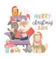 santa claus sitting in armchair wih dogs vector image