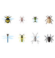 set of 8 insects flat icons vector image vector image
