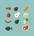 set of food icons meat vegetables hot-dog cake vector image