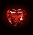 shiny red garnet on dark background vector image vector image
