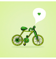 Sketch style green bicycle vector image