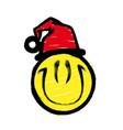 smiley graffiti in santa claus hat smiling vector image
