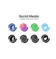 social media web icon set vector image vector image