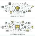 Thin Line Mobile Payments and Business Meeting vector image