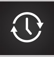 time management icon on black background for vector image