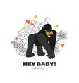 valentines day card with funny gorilla vector image vector image