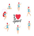 woman sport activities different poses workout vector image