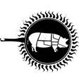 woodcut frying pig vector image vector image