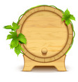 wooden barrel for wine and beer green leaves of vector image vector image