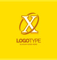 x logo template yellow background circle brand vector image vector image