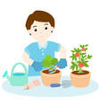 man planting tree cartoon vector image