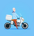 senior man riding motorcycle or motorbike isolated vector image