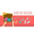 Packing clothes for summer vacation flat vector image