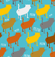 Ass cat seamless pattern Homemade animal with tail vector image
