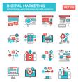 Modern Flat Line icon Concept of Digital Marketing vector image