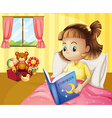 A small girl reading a storybook inside her room vector image vector image