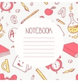 Back to school doodle notebook design and hand vector image