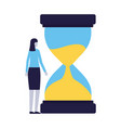 business woman hourglass time vector image vector image