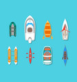cartoon color boats icons set top view vector image
