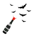 champagne bottle with bats silhouettes halloween vector image