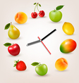 Clock with fruit Diet time concept vector image vector image