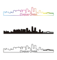 Corpus Christi skyline linear style with rainbow vector image vector image
