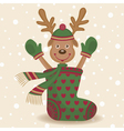 Cute reindeer and sock vector image