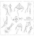 Doodle Kite Set on black Background vector image vector image
