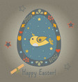easter bird in egg vector image vector image
