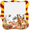 Farm animals around the frame vector image