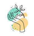 female hand with plant on abstract background vector image