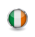 flag of ireland button with metal frame and vector image