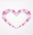 floral shape of heart with pink lily beautiful vector image vector image