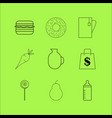 food and drink linear icon set simple outline vector image vector image