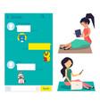 girls using kakao talk application messenger vector image vector image