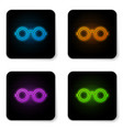 glowing neon glasses icon isolated on white vector image