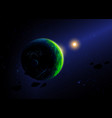 green planet and its sun against stars vector image