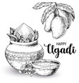 happy ugadi template greeting card for holiday vector image vector image