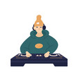 hipster male disc jockey in hat and headphones vector image vector image