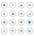 holiday icons colored line set with christmas tree vector image