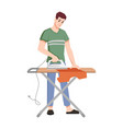 housework man with iron ironing cloth isolated vector image vector image