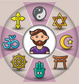 infographic set of religious icons and man vector image vector image