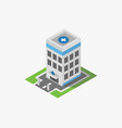isometric hospital in on white background vector image vector image