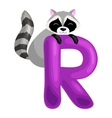 letter R with animal raccoon for kids abc vector image vector image