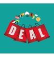 lettering deal bag gift shopping icons vector image